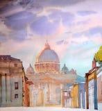 Basilika Sant Pietro som målas av vattenfärgen Arkivfoto