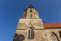 Basilika St Cyriakus的塔在杜德尔斯塔特 免版税库存照片