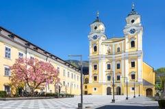 The Basilika St. Michael at Mondsee, Salzkammergut, Upper Austri stock images