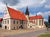 Basilika und Rathaus, Bardejov, Slowakei Lizenzfreies Stockfoto