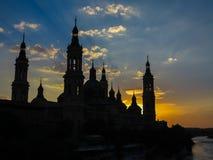 Basilika vår dam av pelaren - Zaragoza, Spanien Arkivfoton