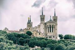 Basilika von Notre Dame de Fourviere in Lyon Stockbilder