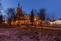 Basilikadomkyrka av St Mary av antagandet i Wloclawek Royaltyfria Bilder