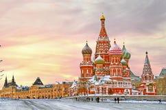 basilikadomkyrkamoscow s st Royaltyfri Bild