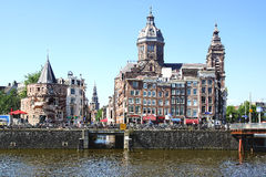 Basilikan av St Nicholas i Amsterdam Arkivfoto