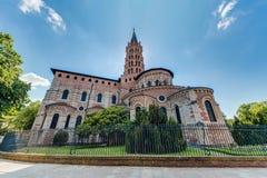 Basilikan av St Sernin i Toulouse, Frankrike Arkivfoto