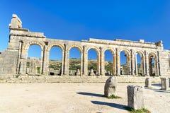 Basilikan i romare fördärvar, den forntida romerska staden av Volubilis morocco Arkivbild