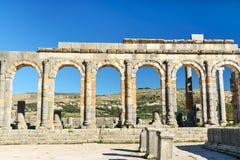 Basilikan i romare fördärvar, den forntida romerska staden av Volubilis morocco Royaltyfri Fotografi