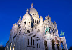 Basilikan Sacre Coeur i aftonen, Frankrike, Paris Royaltyfri Bild