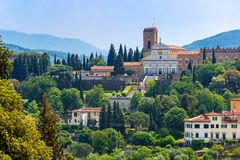 BasilikaSan Miniato al Monte i Florence, Italien Arkivbild