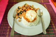 Basilikastekt kyckling och stekt ägg Arkivbild