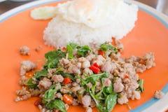 Basilikum gebratenes Schweinefleisch mit Reis lizenzfreie stockbilder