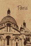 Basilique de Sacre Coeur de vintage, basilique du coeur sacré, Montmartre, Paris Photos stock