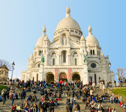 Basilique du Sacre Coeur在巴黎 图库摄影