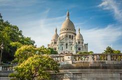 Basilique du Sacre Coeur op Montmartre De zomer Stock Foto's