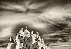 Basilique du Sacre Coeur, Paris. View at sunset Royalty Free Stock Photography