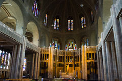 Basilique du Sacre-Coeur (Sacred Heart Basilica) in Brussels, Belgium. Inside view. View of details inside of the Basilique of the Sacre-Coeur (Sacred Heart Stock Images