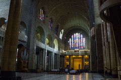 Basilique du Sacre-Coeur (Sacred Heart Basilica) in Brussels, Belgium. Inside view Royalty Free Stock Image