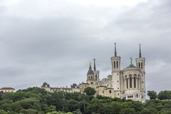 Basilique Fourviere. View of Basilica of Notre Dame de Fourviere, Lyon, France. The royalty free stock image