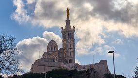 Basilique Notre贵妇人de la加尔德角,马赛法国 库存图片