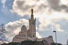 Basilique Notre贵妇人de la加尔德角,马赛法国 库存照片