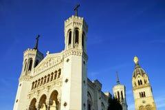 Basilique Notre-Dame de Fourviere in Lyon, France Stock Photos