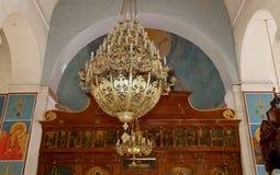 Basilique orthodoxe grecque intérieure de St George en ville Madaba, Jordanie Photographie stock