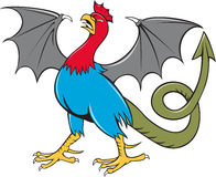 Basilisk Bat Wing Crowing Cartoon Stock Photography