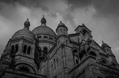Basillica sacre-coeur, Paris - B&W. Black and white photo of the Sacre-Coeur, in Montmartre, Paris Royalty Free Stock Image