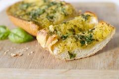 Basilu czosnku chleb Obraz Stock