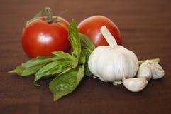 basilu czosnku pomidory Obraz Royalty Free