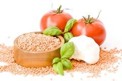 basilu czosnku soczewic pomidory Obraz Stock