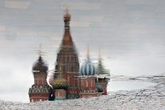 basilu katedralny Moscow Russia s święty odbicie abstrakcyjna wody Zdjęcia Stock