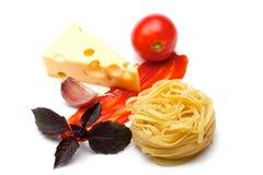 basilu serowy czosnku ketchupu tagliateli pomidor Zdjęcie Stock