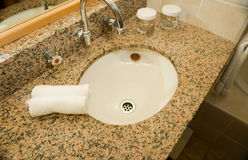 Basin And Granite Vanity In Bathroom Royalty Free Stock Image