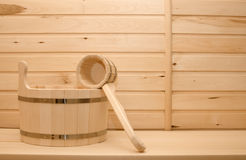 Basin and ladle from a tree for a bath Stock Images
