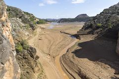 Basin of a reservoir almost empty due to the drought. royalty free stock image