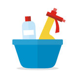 Basin with Washing Cleaners. Glass Clean Substance Stock Images