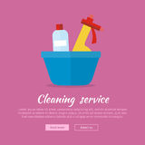 Basin with Washing Cleaners. Glass Clean Substance Stock Photography
