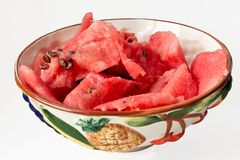 Basin with watermelon slices Stock Image