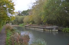 Basingstoke Canal Hampshire near North Warnborough. Showing an old working Barge Stock Photography