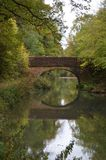 Basingstoke Canal Hampshire near North Warnborough UK. Basingstoke Canal Hampshire near North Warnborough showing the reflection of an old bridge Stock Image