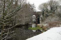 Basingstoke Canal with Snow Royalty Free Stock Photo