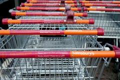Basingstoke, Hampshire, het UK - 17 Oktober 2016: Opslagvoorzijde van Sainsburys superstore in Kempshott-Park Basingstoke Royalty-vrije Stock Fotografie