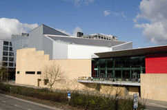 Basingstoke's Anvil. View from a public footbridge of the landmark Anvil arts centre and concert hall in Basingstoke, Hampshire.  The publicly funded building Royalty Free Stock Image