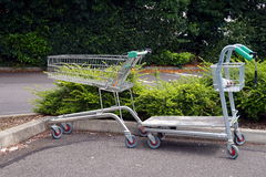 BASINGSTOKE, UK - JULY 20, 2016: Trolleys in the car park of the HomeBase DIY home improvement store Royalty Free Stock Image