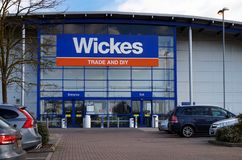 Basingstoke, UK - March 9th 2017: Exterior of the Wickes Trade a royalty free stock images