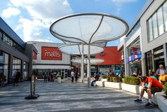 The Malls Shopping Centre. Basingstoke, United Kingdom - July 05 2018: Shoppers in the pedestrianised area of The Malls shopping Centre royalty free stock photo