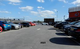 Rooftop car park. Basingstoke, United Kingdom - June 14 2018:   Cars in the Rooftop car park of the Malls shopping centre Royalty Free Stock Image