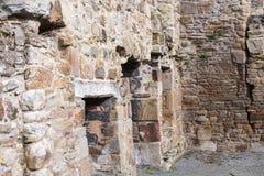 Basingwerk修道院历史的废墟在未开发的地区,在Holywell北部威尔士附近 库存照片